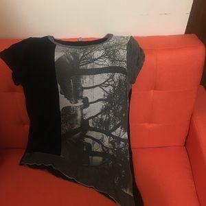 Asymmetric Printed T Shirt